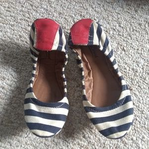 Navy Stripe Flat Canvas Shoe